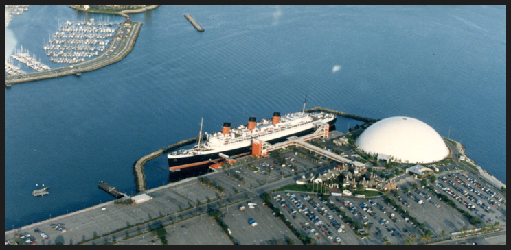Queen Mary and Spruce Goose Building in Long Beach, California